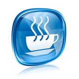 Coffee cup icon blue glass. Royalty Free Stock Images