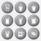 Coffee cup icon on bottle caps set Royalty Free Stock Image