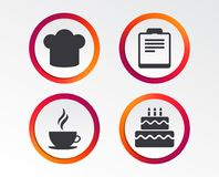 Coffee cup icon. Chef hat symbol. Birthday cake. Coffee cup icon. Chef hat symbol. Birthday cake signs. Document file. Infographic design buttons. Circle Stock Photo