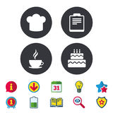 Coffee cup icon. Chef hat symbol. Birthday cake. Coffee cup icon. Chef hat symbol. Birthday cake signs. Document file. Calendar, Information and Download signs Royalty Free Stock Image