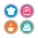 Coffee cup icon. Chef hat symbol. Birthday cake. Stock Photo