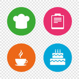 Coffee cup icon. Chef hat symbol. Birthday cake. Coffee cup icon. Chef hat symbol. Birthday cake signs. Document file. Round buttons on transparent background Royalty Free Stock Image