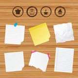 Coffee cup icon. Chef hat symbol. Muffin cupcake. Business paper banners with notes. Coffee cup icon. Chef hat symbol. Muffin cupcake signs. Document file Royalty Free Stock Image