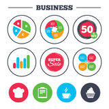 Coffee cup icon. Chef hat symbol. Muffin cupcake. Business pie chart. Growth graph. Coffee cup icon. Chef hat symbol. Muffin cupcake signs. Document file. Super Royalty Free Stock Images