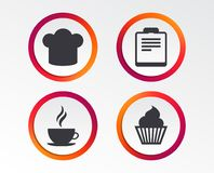 Coffee cup icon. Chef hat symbol. Muffin cupcake. Coffee cup icon. Chef hat symbol. Muffin cupcake signs. Document file. Infographic design buttons. Circle Stock Photos