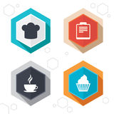 Coffee cup icon. Chef hat symbol. Muffin cupcake. Hexagon buttons. Coffee cup icon. Chef hat symbol. Muffin cupcake signs. Document file. Labels with shadow Royalty Free Stock Photos