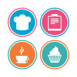 Coffee cup icon. Chef hat symbol. Muffin cupcake. Coffee cup icon. Chef hat symbol. Muffin cupcake signs. Document file. Colored circle buttons. Vector Stock Photography