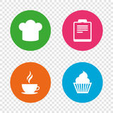 Coffee cup icon. Chef hat symbol. Muffin cupcake. Coffee cup icon. Chef hat symbol. Muffin cupcake signs. Document file. Round buttons on transparent background Stock Photography