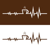 Coffee cup icon and electrocardiography icon vector logo design Royalty Free Stock Photo