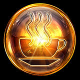Coffee cup icon fire. Coffee cup icon fire, isolated on black background Royalty Free Stock Image