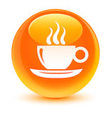 Coffee cup icon glassy orange round button Stock Photo