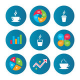Coffee cup icon. Hot drinks glasses symbols. Royalty Free Stock Photos
