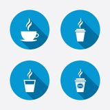 Coffee cup icon. Hot drinks glasses symbols Royalty Free Stock Image