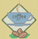 Coffee cup icon on knitted background Stock Images