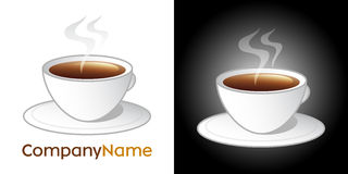 Coffee cup icon and logo design. Isolated vector design with hot coffee or tea brown dring inside white cup with saucer and aroma steam. Nice on white and dark Stock Images