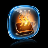 Coffee cup icon neon. royalty free illustration
