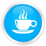 Coffee cup icon premium cyan blue round button Stock Photography