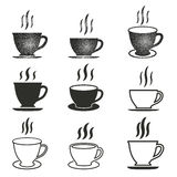 Coffee cup icon set. Coffee cup vector icons set. Black illustration isolated on white background for graphic and web design Stock Illustration