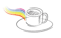 Coffee cup icon, simple freehand drawing Royalty Free Stock Image
