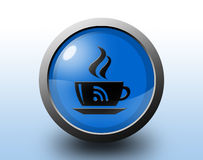 Coffee cup icon with wi fi mark. Circular glossy Stock Photography