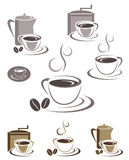Coffee cup icons and emblems design set Stock Photography