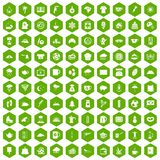 100 coffee cup icons hexagon green. 100 coffee cup icons set in green hexagon  vector illustration Royalty Free Stock Photos