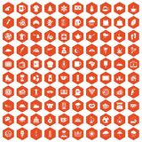 100 coffee cup icons hexagon orange. 100 coffee cup icons set in orange hexagon isolated vector illustration Royalty Free Illustration