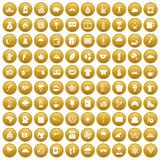 100 coffee cup icons set gold. 100 coffee cup icons set in gold circle isolated on white vectr illustration Royalty Free Stock Image