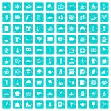 100 coffee cup icons set grunge blue. 100 coffee cup icons set in grunge style blue color isolated on white background vector illustration Stock Images