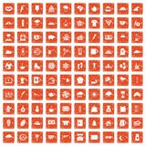 100 coffee cup icons set grunge orange. 100 coffee cup icons set in grunge style orange color isolated on white background vector illustration stock illustration