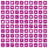 100 coffee cup icons set grunge pink. 100 coffee cup icons set in grunge style pink color isolated on white background vector illustration royalty free illustration