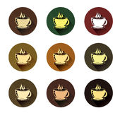Coffee cup icons set with long shadow effect Royalty Free Stock Photography