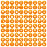 100 coffee cup icons set orange. 100 coffee cup icons set in orange circle isolated vector illustration Royalty Free Stock Photos