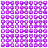 100 coffee cup icons set purple. 100 coffee cup icons set in purple circle isolated vector illustration Royalty Free Stock Photos
