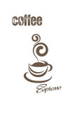 Coffee cup and inscriptions. Coffee cup and coffee and espresso lettering on a white background stock illustration