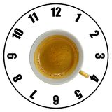 Coffee cup isolated on white background forming clock dial top v. Iew. Coffee time concept Royalty Free Stock Photography