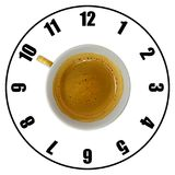 Coffee cup isolated on white background forming clock dial top v. Iew. Coffee time concept Stock Photos