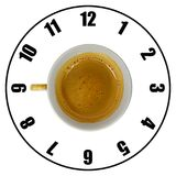 Coffee cup isolated on white background forming clock dial top v. Iew. Coffee time concept Royalty Free Stock Photo