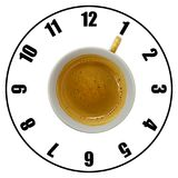 Coffee cup isolated on white background forming clock dial top v. Iew. Coffee time concept Stock Photo