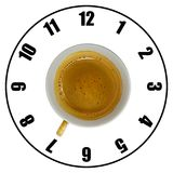 Coffee cup isolated on white background forming clock dial top v. Iew. Coffee time concept Stock Image