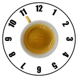 Coffee cup isolated on white background forming clock dial top v. Iew. Coffee time concept Royalty Free Stock Image