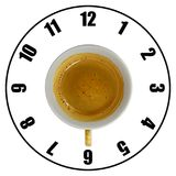 Coffee cup  on white background forming clock dial top v. Iew. Coffee time concept Royalty Free Stock Image