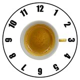 Coffee cup isolated on white background forming clock dial top v. Iew. Coffee time concept Stock Photography