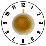 Coffee cup isolated on white background forming clock dial top v. Iew. Coffee time concept Stock Images