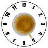 Coffee cup isolated on white background forming clock dial top v. Iew. Coffee time concept Royalty Free Stock Images