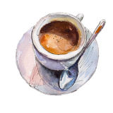 The coffee cup isolated on white background, watercolor illustration. The coffee cup isolated on white background, watercolor illustration in hand-drawn style Vector Illustration