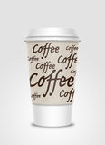 Coffee cup with label Stock Photography