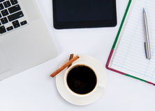 Coffee cup and laptop for business. Stock Image