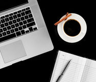 Coffee cup and laptop for business. Stock Photography