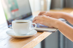 Coffee cup  with laptop Royalty Free Stock Photo